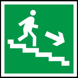 Знак E-13 «Направление к эвакуационному выходу по лестнице вниз» (направо)_07615