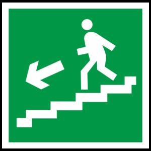 Знак E-14 «Направление к эвакуационному выходу по лестнице вниз» (налево)_07616