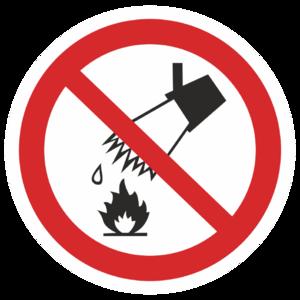Знак P-04«Запрещается тушить водой»_07304