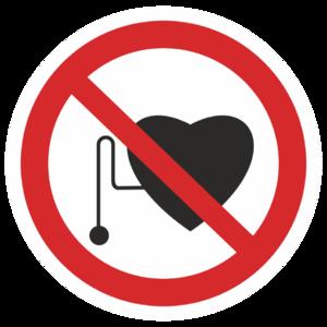 Знак P-11«Запрещается работа (присутствие) людей со стимуляторами сердечной деятельности»_07311