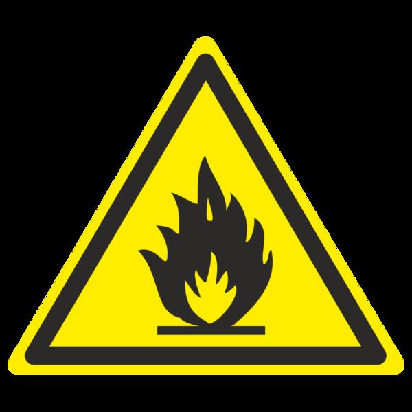 Знак W-01 «Пожароопасно. Легковоспламеняющиеся вещества»_07001