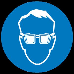 Знак на пленке светоотражающей M-01«Работать в защитных очках»_074016